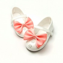 wedding photo - Satin Shoe Clips, Bridal Shoe Clips, 3 inch Satin Tuxedo Bows, Bow Tie Shoe Clips, Wedding Flower Girl Bridesmaids Coral 60 colors