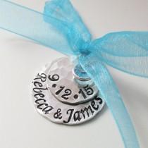 wedding photo - Something Blue Bridal Charm - Custom Wedding Charm - Hand Stamped Anniversary - Bride Charm - Bouquet Charm