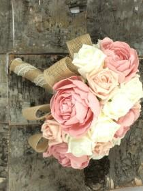 wedding photo - Wedding bouquet shabby chic, rustic, ivory and peach roses with dusky pink peonies. burlap and lace made to order