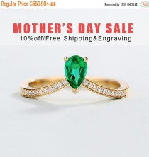 wedding photo - 10% OFF Emerald Engagement Ring vintage Pear Cut Unique Rose Gold Solitaire Natural Emerald Ring Anniversary Stackable ring Mothers day gift