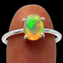 wedding photo - Opal Engagement Ring Opal Firey Solid Faceted Ring AAA Quality Opal Solitaire Ring Opal Ring in Solid Sterling Size 7
