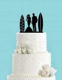 wedding photo - Surf Couple Bride and Groom Beach Wedding Acrylic Wedding Cake Topper