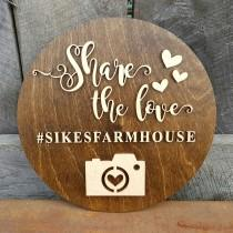 wedding photo - Wedding Hashtag Sign - Wooden Wedding Sign - Share The Love Sign