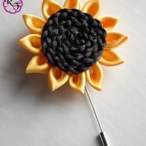 wedding photo - Lapel pin , lapel flower . sunflower pin , Bridal accessory . buttonhole , sunflower Boutonniere , prom lapel flower , best man lapel pin
