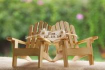 wedding photo - Personalized Cake Topper Adirondack Chairs-Beach Wedding-Cottage Wedding-Shabby Chic- Rustic Chic Burned/Engraved- Adirondack cake toppers