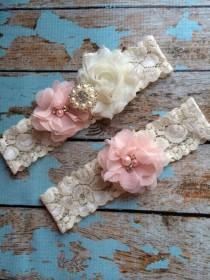 wedding photo - PINK  BLUSH  flower  / IVORY  chiffon / wedding garter set / bridal  garter/  lace garter / toss garter included /  wedding garter
