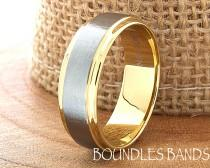 wedding photo - Gold Tungsten Wedding Band Ring Stepped Two Tone Customized Laser Engraved Ring Mens Womens His Hers Unisex Ring 6mm Design Classic Modern