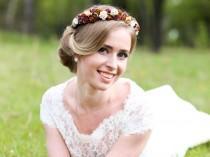 wedding photo - Brown Bridal crown, Floral crown, wedding flower crown, flower crown, wedding crown, floral head wreath, brown floral crown