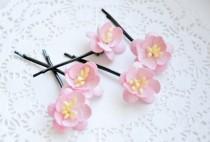 wedding photo - Bridal hair clips, Pink pins, Wedding flower pins, Peach bobby pins - set of five