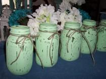 wedding photo - Mason Jar Vases Painted mint green weddings decorations centerpieces flower vases rustic wedding cottage chic barn wedding photo props