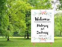 wedding photo - Engagement party sign, welcome to our wedding sign,  watercolor floral sign, engagement welcome sign, large wedding sign, digital download