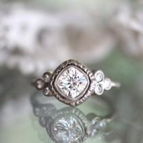 wedding photo - 6mm Cushion Cut Forever Brilliant Moissanite 14K Gold Engagement Ring, Stacking Ring, Antique Square Cushion Moissanite Ring - Made to Order