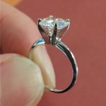 wedding photo - Thin Solitaire with 1.5 CT Forever One Moissanite