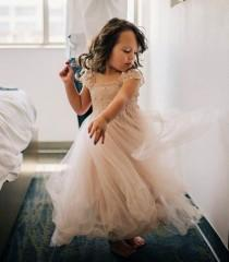 wedding photo - RUE DEL SOL blush flower girl dress French lace and silk tulle dress for baby girl blush princess dress
