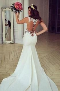 wedding photo - See Through Lace Mermaid Wedding Dresses, Sexy Long Custom Wedding Gowns, Affordable Bridal Dresses, 17099