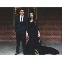wedding photo - Stunning Black Wedding Dress Custom Made in your Measurements - Hand-made Beautiful Dresses