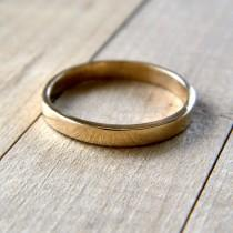 wedding photo - Gold Wedding Band, 2.5mm Slim Flat Recycled 14k Solid Yellow Gold Ring Women's Wedding Ring -  Made in Your Size