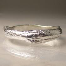 wedding photo - Wide Men's Twig Ring in Sterling Silver,  Men's Wedding Band