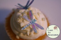 """wedding photo - Unique cake topper, 24 detailed edible dragonflies, 1 1/4"""" dragonflies for cakes, cupcakes, cookie decorating. Wafer paper dragonflies"""