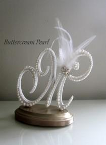 wedding photo - White Feather Wedding Cake Keepsake, Custom Wood Topper, Winter Wedding Topper, Art Deco Wedding Topper, Wedding Couple Gift, M Cake Decor
