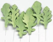wedding photo - Dusty Miller Leaves Spray for Sugar Flower Arrangements, gumpaste greenery and foliage, green wedding cake toppers, fondant cake decorations