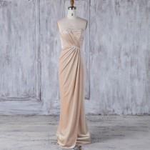 wedding photo - 2017 Beige Velvet Bridesmaid Dress, Ruched Sweetheart Wedding Dress, Asymmetric Strapless Prom Dress, Mother of Bride MOB Dress Full (LV268)