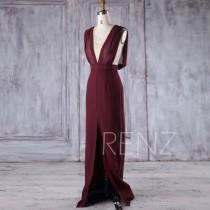 wedding photo - 2017 Wine Chiffon Bridesmaid Dress, Deep V Neck Lace Wedding Dress, Draped Back Prom Dress, Long Sexy Evening Gown Floor Length (H383)