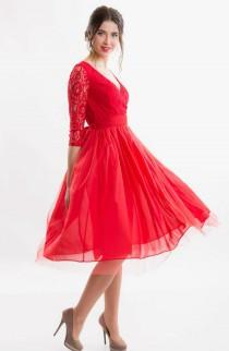 wedding photo - 2016 Red Chiffon Bridesmaids Tulle Dress.Formal Short Dress Red.Lace Wedding Dress Red Tutu Tulle Dress,Wrap Evening MIDI Dress