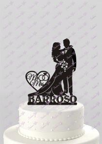 wedding photo - Wedding Cake Topper Silhouette Bride and Groom with Last Name Acrylic Cake Topper [CT66n]