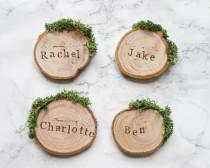 wedding photo - Wedding Place Cards / Rustic Place Settings / Wooden Wedding Favours / Wood Slice Place Names / Woodland Wedding / Moss Escort Cards / UK