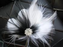 wedding photo - A BLACK & WHITE AFFAIR - feathered fascinator with rhinestone centerpiece, wedding accessory, bridal hairpiece, fascinator, hair clip
