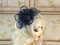 wedding photo - Navy Blue Wedding Fascinator - Mini Fascinator with Netting - Kentucky Derby Hat - British Tea Party Hat - Kate Middleton Hat