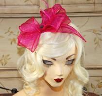 wedding photo - Fushia Fascinator Headband - Hot Pink Kentucky Derby Hat - Wedding Fascinator - British Tea Party Hat - Hot Pink Headband