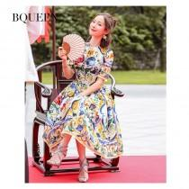 wedding photo - Women's retro fall 2017 new long sleeve dress in printed dress - Bonny YZOZO Boutique Store