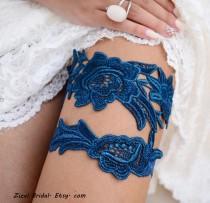 wedding photo - Wedding Garter Set, Unique Bridal Garter, Teal Blue Garter, Lace Bridal Garter, Bridal Garters, Handmade Garter, Something Blue, Toss Garter