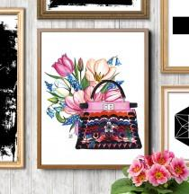 wedding photo - Fendi, Fendi illustration, Fendi bag, Fendi print, Fashion illustration,Watercolor flowers,Watercolor fashion, Fendi painting, Fashion print