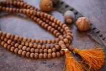 wedding photo - 8mm Natural Aromatic Sandalwood Beads from India, 108 Beads Necklace / Yoga, Malas, Prayer Beads / Wood, Wooden Beads, Jewelry Supplies