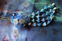 wedding photo - hair accessories for kimono yukata-weddinghair accessory blue bridal hair stick, wedding hair pin, bridal hair flower -B35