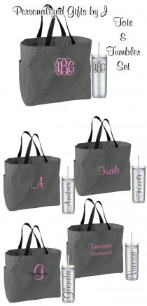 wedding photo - 9 Personalized Bridesmaid Tote Bags and Tumblers, Bridesmaids Gifts, Bridal Party Gifts, Wedding Gift Sets, Monogrammed Totes and Tumblers