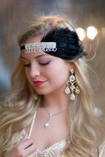 wedding photo - Feather Art Deco Headband, Flapper Feather Headband, The Great Gatsby Headpiece, 1920s Flapper, Rhinestone Headband, Vintage Inspired
