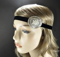 wedding photo - Great Gatsby Headpiece, 1920s Headband, Flapper Costume Silver Beaded Headband, Roaring 20s Hair Accessories by Adorning Beauty