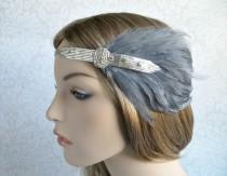 wedding photo - Silver Beaded Rhinestone Gray Feathers, Flapper, 1920s Headpiece, Great Gatsby Headpiece, Art Deco 1920s Headband, Fascinator