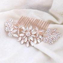 wedding photo - Bridal Hair Comb Rose Gold Decorative Crystal Combs For Wedding Headpiece Bridal Hair Piece Vintage Wedding Hair Accessories Bridesmaid Gift