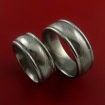 wedding photo - Matching Damascus Steel Ring Set Wedding Bands Genuine Craftsmanship