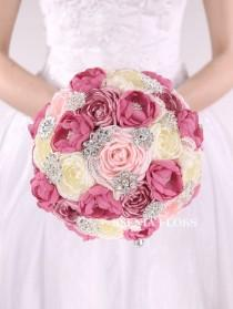 wedding photo - Brooch Bouquet, Broach Bouquet, Fabric Bouquet, Unique Wedding Bouquet, Jewelry Bridal Bouquet, Bridesmaids Bouquet, Sale! Ready to ship!