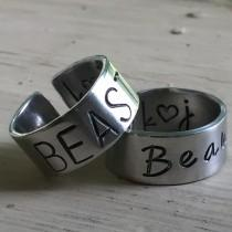 wedding photo - Beauty and Beast Rings - Silver - Beauty and Beast - Couples Promise Ring Set
