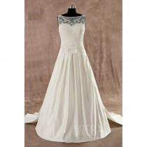 wedding photo - Charming A-Line  Train Satin Ivory Sleeveless Wedding Dress with Removable Train - Top Designer Wedding Online-Shop