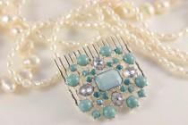 wedding photo - Mermaid Hair Comb Something Blue For Bride Sea Princess Tiara Crystal Vintage Comb Hair Jewelry Turquoise Cabochon Topaz Blue Wedding Comb