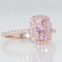 wedding photo - Champagne Sapphire Engagement Ring 14k Rose Gold Diamond Ring 2.07ct Cushion Light Lavender Peach Champagne Sapphire