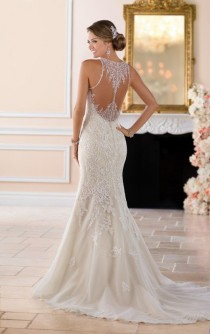 wedding photo - Elegant High Neck Wedding Dress With Lace Beading